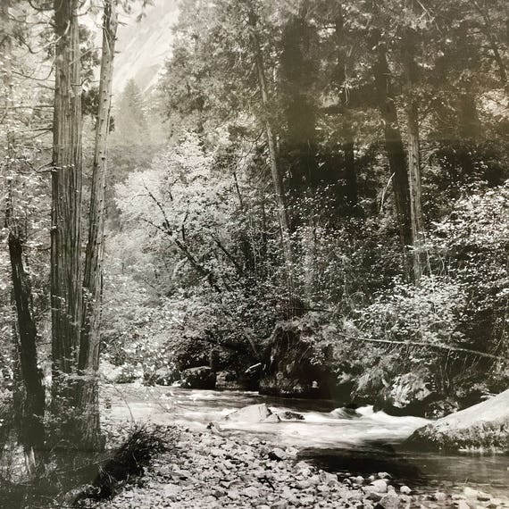 vintage black and white photograph - Tenaya Creek Yosemite National Park California 1948 - framed photo print - nature wall decor