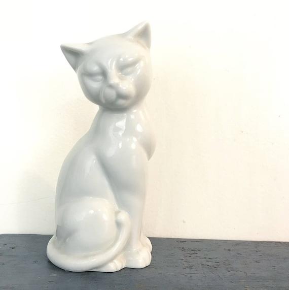vintage white ceramic cat statue - mid century modern - siamese cat - cat lover gift