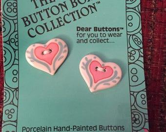 Heart shaped porcelain buttons