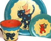1930 ' s tin toy service à thé avec litho Vichy chien & chat Calico par Ohio Art Co.