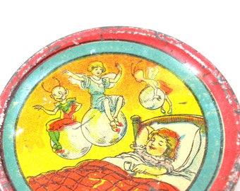 Scarce 1900s Tin Toy Tea Saucer, Fairy & Pixies riding bubbles, sleeping girl. Leo Schlesinger.