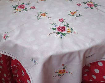 beautiful vintage embroidered rose tablecloth and two matching  mats