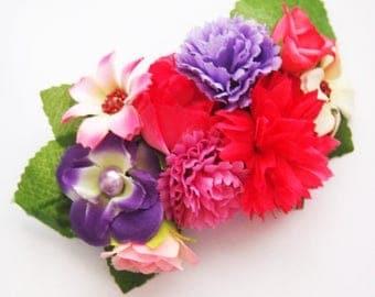 Bright Fairy Floral Barrette-Statement Piece-Woodland Bride-Fantasy Fashion-Fae Wedding-Pink Flower Crown-Prom Tiara-Fashion Accessory-Cute