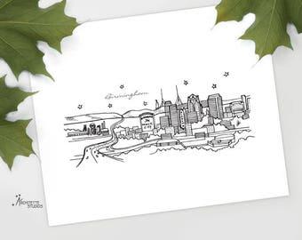 Birmingham, Alabama - United States - Instant Download Printable Art - City Skyline Series