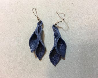Petal Collection: navy blue leather petal earrings