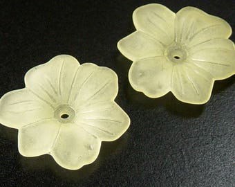 Acrylic Bead 4 Star Daisy Flower Yellow 6-Petal Frosted 30mm (1030luc30m1-5)
