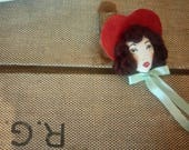 Hello Dolly!! Holly Leather Heart Sweetheart Doll Face Embroidered and Bow Brooch