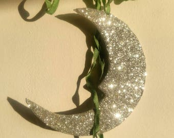 Silver Glitter Moon - Hanging Wall Decoration