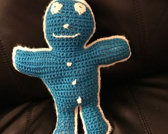 Gingerbread Doll - Blue/White
