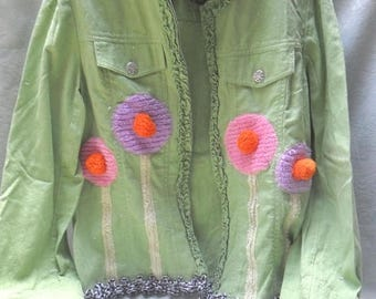 36% OFF Closet Cleaning JACKET Reworked Whimsical Boho Gently Used Cutie Fun Lightweight Cotton Upcycle - Spring Green
