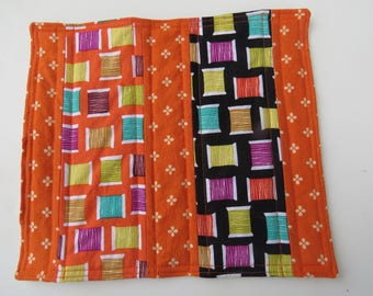 Quilted Mug Rug, Mini Quilt, Home Decor, Table Topper, Snack Mat, Spools of Thread