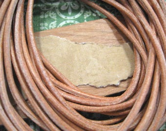 Natural Leather Round Cord from Germany - One 39 Inch Piece