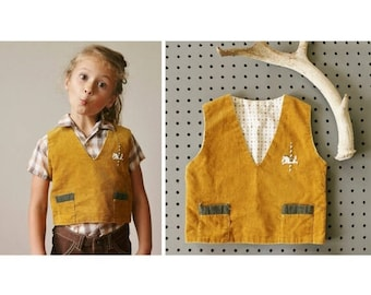 ANNIVERSARY SALE 1940s Mustard Carousell Vest~Size 2t/3t
