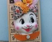 Vintage Style, Easter Headscarf Bunny Bingo Decoration, Pink Ears, Vintage Fabric  Headscarf