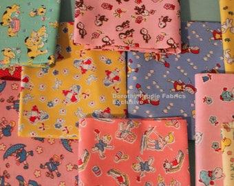 FAT Quarter Bundle Fabric 1930s CHILDREN'S FEEDSACKS style prints 10 Fat Quarters    We Combine Shipping