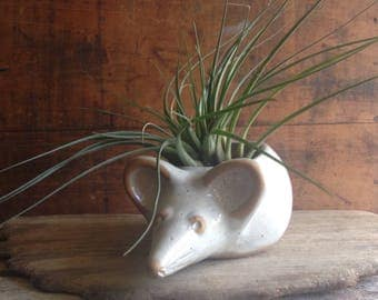 Vintage White Mouse Planter by David Stewart, Animal Figurine, Pottery Vase, Mid Century Decor