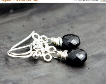Summer Sale Onyx Earrings, Drop Earrings, Gemstone Earrings, Black Stone, Wire Wrapped, Dangle Earrings, Black Earrings, Gemstone Jewelry, P
