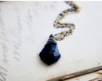 Crystal Necklace, Black Crystal, Crystal Pendant, Mixed Metals, Baroque Crystal, Swarovski Crystal, Gold, Sterling Silver, PoleStar