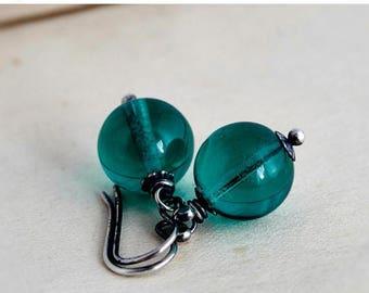 Glass Earrings, Dangle Earrings, Drop Earrings, Emerald Green, Teal Green, Sterling Silver, Antiqued, May Birthstone, PoleStar