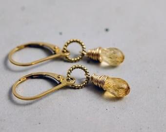 Topaz Earrings, Topaz Jewelry, Imperial Topaz, Gold Earrings, Drop Earrings, November Birthstone, Birthstone Earrings, Birthstone Jewelry