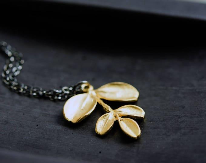 Leaf Necklace Gold Brass Minimalist Pendant Simplistic PoleStar