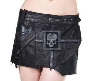 KAOS DIVISION Adjustable Black Leather Ultra Mini Skirt
