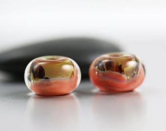 30% OFF SALE Lampwork Glass Beads - Peach Pair - Lampwork Beads - 13x8mm