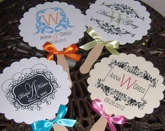 Wedding Fans, Wedding Monogram, Paper Fans, Monogrammed Wedding Fan set of 75 FULLY ASSEMBLED FANS