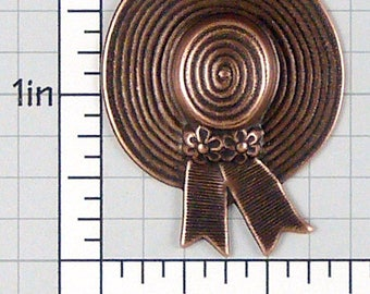 Straw Hat Finding, Sun Hat Stamping, Hat Pendant, Bonnet Stamping, Vintage Stamping, Copper Ox Plated Brass, 1 Pc, 1072co