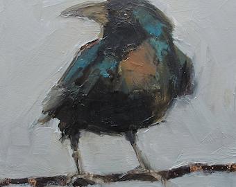 CROW BLACK Raven BIRD Original Art Colette Davis 4X4 Painting Oil