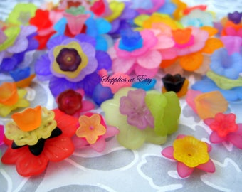 Special SALE-Wholesale frosted lucite Flower Beads Sample Pack-matte Lucite multicolored kit flower beads-Assorted vintage style Flowers