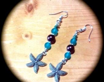 Silver Star Fish Long Dangle Fashion Earrings for Every Day Wear boho gypsy native  gift southwestern  regency victorian barbswish