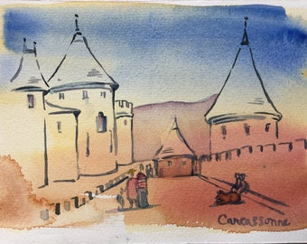 "Original watercolor; visiting the Narbonne gate in Carcassonne 6 1/4"" x 9 1/4"""