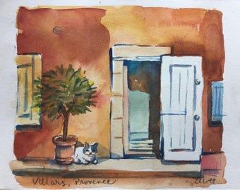 """Provencal doorway with cat, original watercolor 8 1/4"""" x 6 1/4"""""""