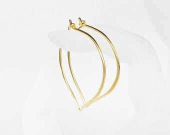 Large Gold Hoops, 24K Gold Vermeil Earrings, Medium or Large Lotus Petal Ear Wires, Gifts for Her