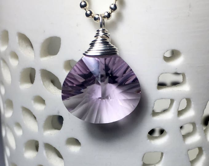 Featured listing image: Amethyst Solitaire Sterling Silver, Gemstone Necklace, Starburst Amethyst Heart Shaped Pendant, Amethyst Necklace, February Birthstone