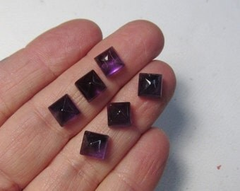 OUT of TOWN SALE Amethyst Cabochon 7mm Cushion Square, Qty2,  Pyramid Natural Amethyst Cabochon