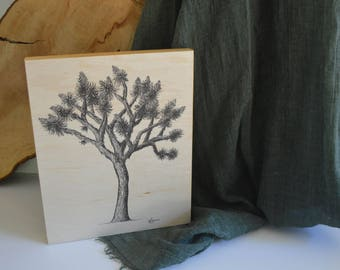 Joshua Tree - 8x10 inch Pen and Ink Print on Wood