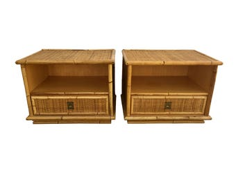 Mid Century Modern Rattan Nighstands Side Tables