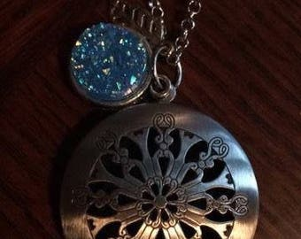 Blue Druzy Druzie Feather Antique Silver large Filigree Diffuser Boho Necklace use with Young Living Essential Oils