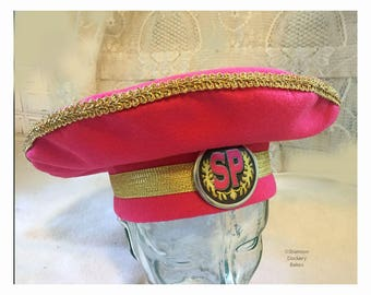 Beatles Hat Ringo Style Sergeant SGT Pepper's Ringo Inspired-Band Beret Hat Dark Pink Felt Gold Trim 60's-Shannon Dockery Bakos - Retrovival