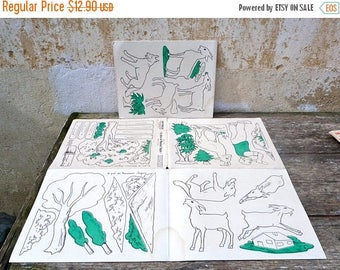 "ON SALE Vintage 1950/50s French educative  school decorative set of 2 posters 25.5 "" x 19.6 "" La chèvre de Mr Seguin"