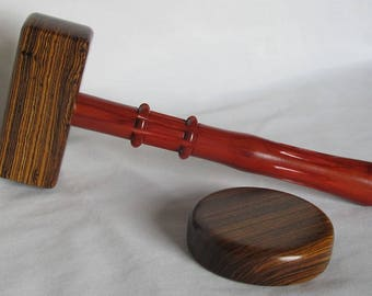 Gavel Set Handmade of Bocote and Redheart Wood - Exotic Species - Flute and Bead Design - Rectangular Head