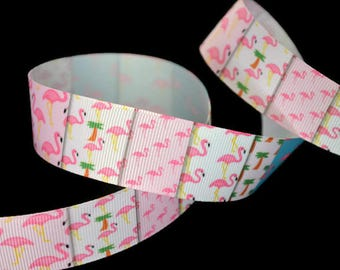 Flamingo Ribbon, Palm Tree Ribbon, Florida Ribbon, Southern Ribbon, 1 Inch Ribbon, Tutu Trim, Bird Ribbon, Tropical Ribbon, Beach Ribbon