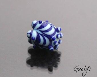 Destock - Ecailles - perle à écaille forme poire - ciel / bleu Lapis - lampwork Gaelys