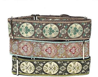 """Martingale dog collar 1.5"""" wide, GUINEVERE in olive green, pinked teal or tan and teal, Safety Collar, Greyhound Coll"""