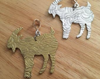 Hammered Goat Necklace Pendant
