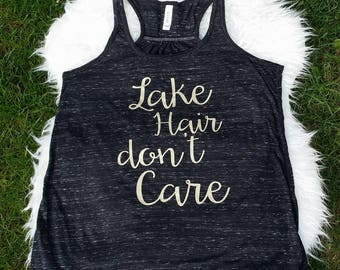 Lake Hair don't care - Womens Tank Top - Black/Gray Slub - gold font