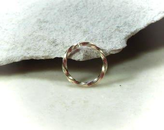 Nose Rings Gold Twist - Nose Ring, Septum Ring, Gold Nose Ring, Twist Nose Ring, Gold Septum Ring, Gold Nose Ring, Continuous Nose Ring