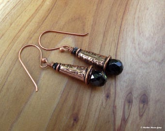 Ancient Days Copper and Black Spinel Earrings